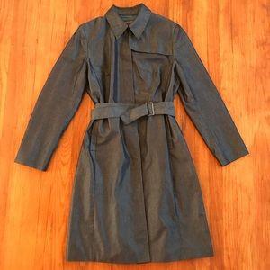 Banana Republic Dress Trench Coat Gray Sheen SZ L